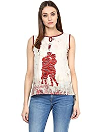 Jaipur Kurti Women's Abstract Print White Colour Top