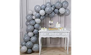 PartyWoo Gray Balloons, 60 pcs Grey Latex Balloons of 12 inch Dark Gray Balloons, 10 inch Pastel Gray Balloons, Light Gray Balloons for Gray Party Decorations, Gray Baby Shower, Gray Christening