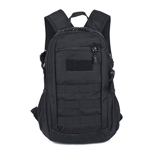 BondFree 12L Military Rucksack Tactical Taktischer Kleiner Fahrradrucksack Daypack für Radsport Wandern (Schwarz)