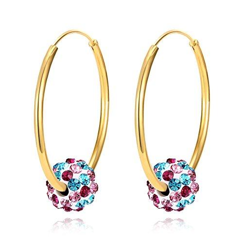 Damen Creolen Ohrringe mit Kristall Vergoldet Große Rund Ohrringe Mode Schmuck (Vergoldet-Blau)