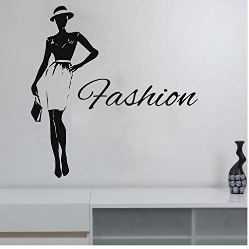 Frau Wandaufkleber Dame Style Fashion Vinyl Aufkleber Für Kleid Shop Boutique Kleidung Kleid Modell Diy Murals 42X43 Cm Wandaufkleber