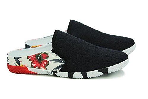 SHIXR Men Open Back Slippers Sommerblumen und Flüstern Half Dragging Single Schuhe Einfache Tide Anti - Skid Schuhe Black