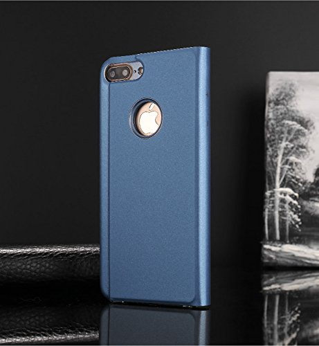 Meimeiwu Clear View Flip Custodia Cover con Funzione Kickstand [Sleep/Wake Funzione] Ultra-Sottile Specchio Traslucido Smart Cover per iPhone 7 - Argento Blu