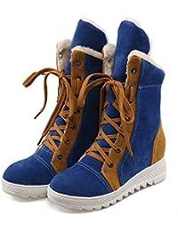 JUWOJIA Las Mujeres Botas De Nieve De Invierno Moda Dulce Plataforma Plana Zapatos De Estudiantes,Blue,41