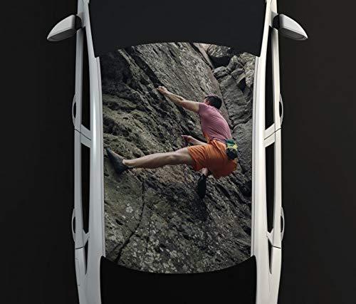 Digitaldruck Autoaufkleber Dach Freeclimbing Felsen Klettern Extrem Auto Tuning bunt Aufkleber Airbrush Racing Autofolie Car Wrapping CA670, D Aufkleber Größe:135cmx205cm