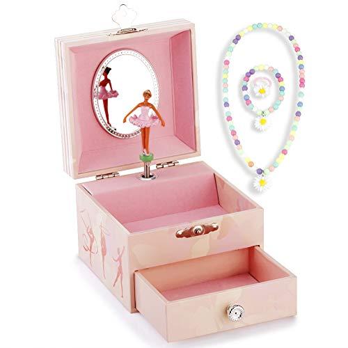 RPJC Kinder Musik - Glocke Schmuckkästchen - Box Speichern mit Schublade und Set für Schmuck mit Schwarz Mädchen Gymnastik Thema - Der Schwanensee Tune Pink (Schmuck-box Mit Schubladen)