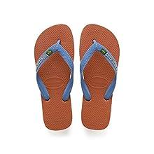 Havaianas Unisex's Brasil Logo Flip Flops, Orange Bronze, 1/2 UK