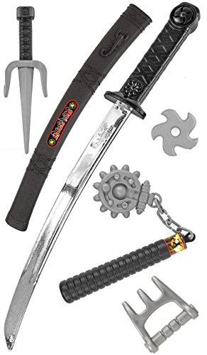 (Katana KINDER NInja-Kostüm-Set Samurai-Schwert Kostüm Säbel Dolch Messer XXL Set Zubehör Spielzeug-Waffen)
