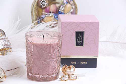 Driada -VIDRO Lounge Rosa con acrilico Paris,Vela Perfumada/Aromática, Vaso de Vidrio, para Regalo, Decoración y Hogar