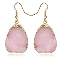 Toporchid Natural Stone Dangle Earrings For Women Vintage Gem Crystal Earrings Jewelry(pink)