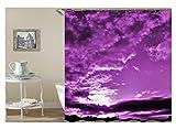 Amody 3D-Digitaldruck Sky Forest Duschvorhang Bad Vorhang Durable Wasserdicht Bad Vorhang Lila Größe180X180