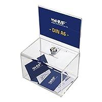 La boîte acrylique de HMF est verrouillable et convient parfaitement à différents usage, comme urne pour concours, tirelire etc. HMF box acrylique pour les collections d'argent etc., avec face arrière prolongée.  Partie d'insertion de feuille pour pl...