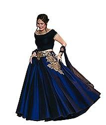 Greenvilla Designs Latest Blue Silk Lahenga SH135