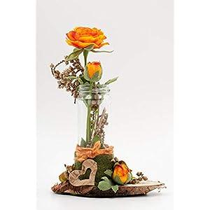 Herbstliches Tischgesteck mit Ranunkeln,Herz+Holzscheibe-rustikale Tischdeko mit künstl.Blumen