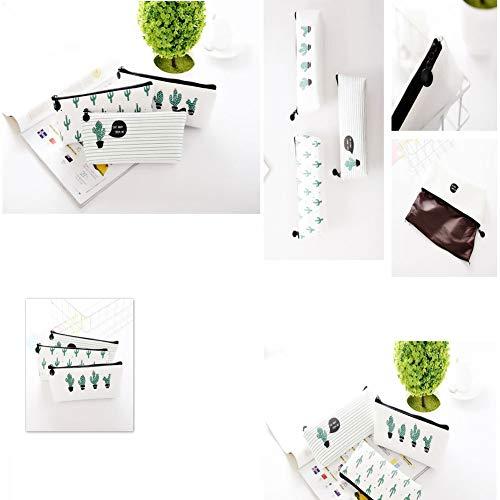WeiMay Set di 3 astucci porta penne/cosmetici, motivo cactus - 4