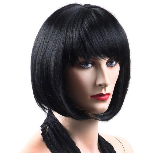 Songmics Perücke Frauen Damen Haar Wigs Schwarz Glatt Kurz für Karneval Fasching Cosplay Party Kostüm WFY091 (Schwarz Perücken Damen)