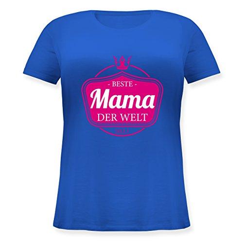 Shirtracer Muttertag - Beste Mama der Welt - Lockeres Damen-Shirt in Großen Größen mit Rundhalsausschnitt Blau