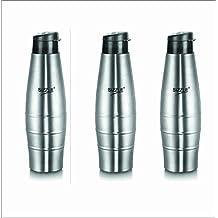 Sizzle Leak Proof Stainless Steel Water Bottle, 750 ml, Grey, Set of 3