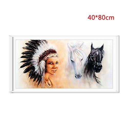 QHGstore Indian Natives Horse Pattern Spray Ölgemälde Home Decor Wohnzimmer Wand Kunst Bilder groß (Gemälde Kunst Native)