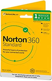 Norton 360 Standard | 1 User 1 Year | Total Security for PC, Mac, Android or iOS | Physical Delivery | No CD