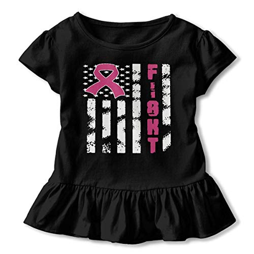 Girls Hemden Sleeve Breast Cancer Flag T-Shirts, Ruffled Blouse Clothes with Flounces, 2-6T - Sleeve Flag Shirt