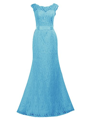 Find Dress Femme Elégant Sexy Robe de Soirée/Cocktail/Cérémonie Robe Forme Fourreau Longue sans Manches en Dentelle Bleu
