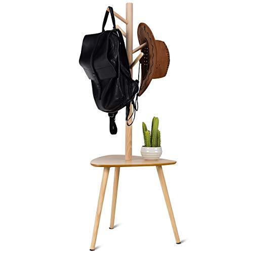 COSTWAY Garderobenständer Holz, Jackenständer Kleiderständer Garderobe, mit Ablage, mit Haken (Modell 2(44,5x44,5x121,5cm))