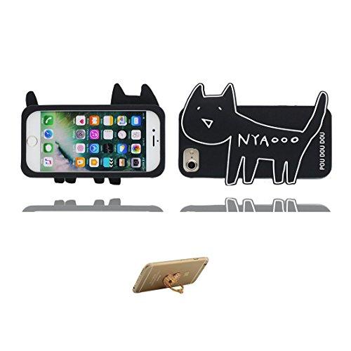 iPhone 7 Plus Custodia, [ gatto 3D Cartoon Cat Rosa ] , morbida guarnizione TPU in gomma antigraffio protettiva Case copertura per iPhone 7 Plus 5.5 pollice Cover & ring supporto Nero