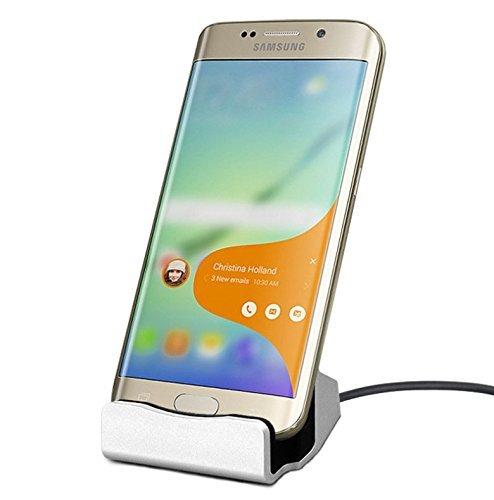 EX1 Micro USB Ladegerät Ladestation Dockstation für Samsung Galaxy S4/S5/S6/S6 Edge/S6 Edge Plus/S7 Edge/Note 3/Note 4/Note 5, HTC One, Motorola, Sony Xperia und andere Android Smartphone mit Micro USB Anschluss (Silber)