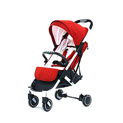 LZTET Baby Kinderwägen Gefaltet Baby Sportkinderwagen Buggy Jogger Sportwagen Kinderbuggy Klappbar 0-5 Jahre Alt Ultra Leichter Universal Rad,Red