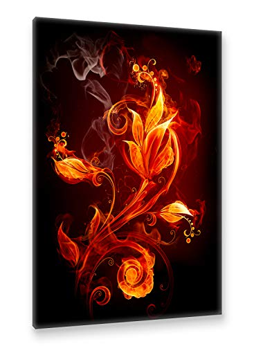 Postereck - Premium Leinwand - 0025 - Feür Blume Blüte Pflanzen Flamme Lilie Rauch Liebe - Größe 75,0 cm x 50,0 cm