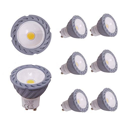 Greenfrog Pack de 6 Bombillas LED GU10, 6W COB LED Equivalente a 50W Lámpara Incandescente, Blanco Cálido 3000K, 560 Lumen, AC 175-265V, 120 ° ángulo de haz, 3 años de garantía