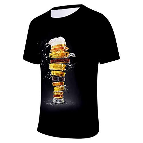 rren Bier Party Tee Männer 3D Druck Lustige Grafik Hemden Sommer Kurzarm Rundhalsausschnitt Sport Oberteile Übergröße Tops M-4XL ()
