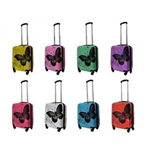 Butterfly design Cabin Hand Luggage Suitcase 4 Wheeled ABS Travel Case Bag suitecase with wheels