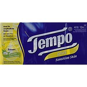 Tempo Taschentücher Plus, 4-lagige Papiertücher in bewährter Tempo Qualität mit Aloe Vera und Mandelöl, 12 x 9 Tücher (108 Tücher)