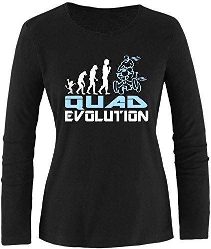 EZYshirt® Quad Evolution Damen Longsleeve Schwarz/Weiss/Hellbl