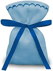 Crociedelizie, Stock 25 sacchetti bomboniere portaconfetti segnaposto in tela aida azzurra celeste da ricamare
