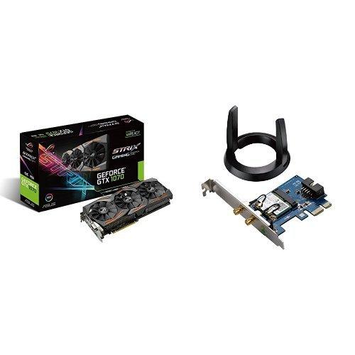 Upgrade-Set bestehend aus Asus GeForce GTX 1070 und PCIe PCE-AC55BT WLAN-Karte