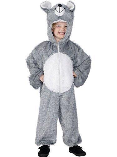 Jungen Mädchen Kostüm Graue Maus Nagetier Ratte Tier Buchtage Verkleidung Kostüm Größe 122 - 134 (Mädchen Graue Maus Kostüm)
