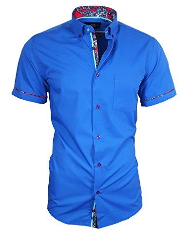 Louis Binder de Luxe Herren Hemd mit Brusttasche Kurzarm Shirt Modern Fit Button-Down-Kragen 82911 königs blau L