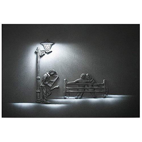 Startonight Art Wand Leinwand Saxophon Player, Musik USA Design für Home Decor, Dual View Surprise Artwork Modern gerahmt fertig zum Aufhängen Art Wand 60x 90cm Original Art Malerei