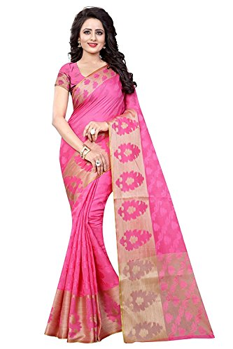 Vatsla Enterprise Women's Cotton Saree With Blouse Piece (Vduihan008Pink_Pink)