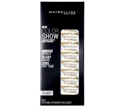 Maybelline Limited Edition Color Show Fashion Prints Mirror Effect Nail Stickers - 10 Golden Distress by Maybelline