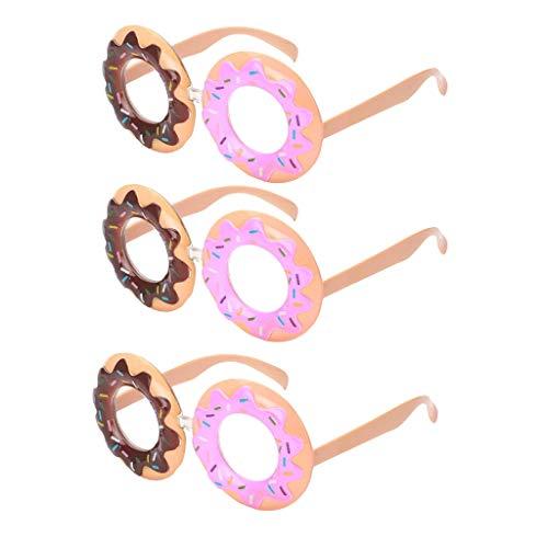 3pcs Lustige Brille Donut Partybrille Spaßrille Funbrille für Party Halloween Kostüme Foto Requisiten