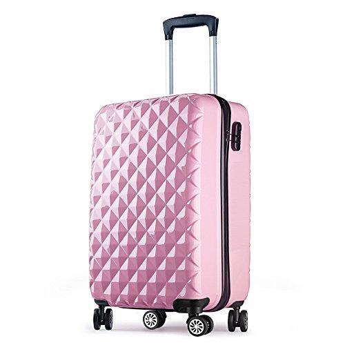 Valise cabine 55 cm ABS bagage cabine rigide 4 roues avion ryanair 4 couleurs 40L Rosé