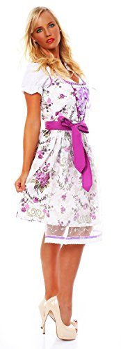 10588 Fashion4Young Damen Dirndl 3 tlg.Trachtenkleid Kleid Mini Bluse Schürze Trachten Oktoberfest Weiß Lila