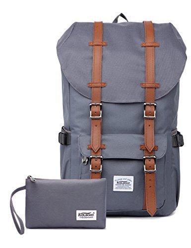 Rucksack Damen Herren Vintage Studenten Backpack KAUKKO 17 Zoll Laptop Rucksack für 15' Notebook Lässiger Daypacks Schüler Backpacks Schultaschen of 2 Side Pockets für Wandern Reisen Camping