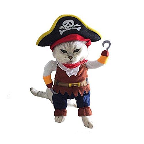 Halloween Piraten kühlen Haustier Kostüme, Hmeng Netten Hund Haustier Cosplay Kostüm Kleidung (S, Braun) (Dackel In Halloween Kostüme)