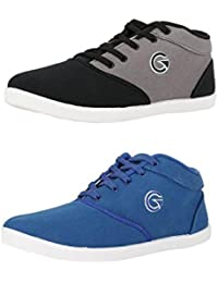 Globalite Men's Casual Shoes Canvas Sneakers (Combo Offer - 2 Pair Shoes)
