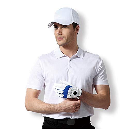 Mercerisierte Golf (Kurzarm Sommer Golf Herrenbekleidung Herren Kurzarm Revers T-Shirt Hals Bluse Erwachsene Komfort Weiche Baumwolle Poloshirt Strand-T-Shirt (Farbe : Weiß, Größe : L))